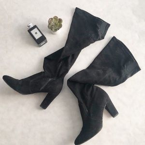 Over the knee black vegan suede boots